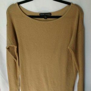 Ralph Lauren Women's Long Sleeve Top Gold Medium